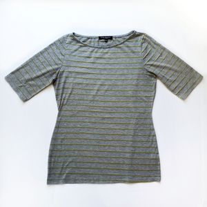 Green Envelope Striped Tee Gray Large